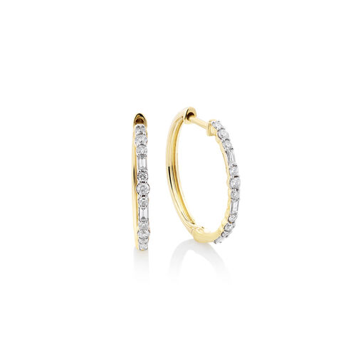 Hoop Earrings with 0.25 Carat TW Of Diamonds in 10kt Yellow Gold