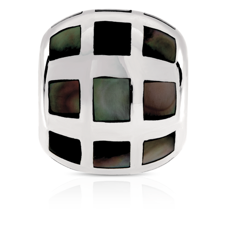 Square Patterned Charm with Black Mother of Pearl in Sterling Silver