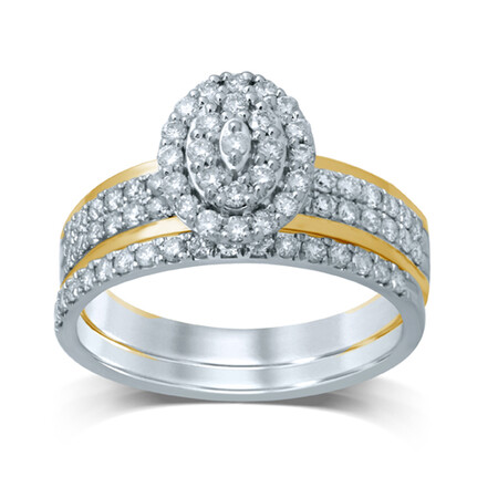 Bridal Set with 3/4 Carat TW of Diamonds in 14kt Yellow & White Gold