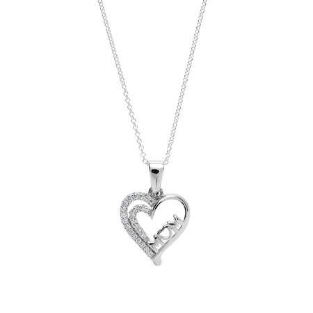 """""""Mom"""" Heart Pendant with White Cubic Zirconia in Sterling Silver"""