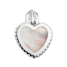 White Mother Of Pearl & Sterling Silver Heart Dangle Charm
