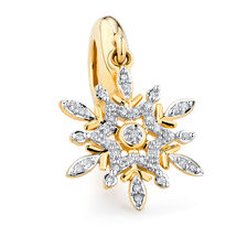 Diamond Set Snowflake Dangle Charm in 10kt Yellow Gold