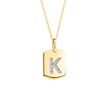 "K"" Initial Rectangular Pendant With Diamonds In 10kt Yellow Gold"