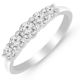 Five Stone Ring with 3/4 Carat TW of Diamonds in 14kt White Gold