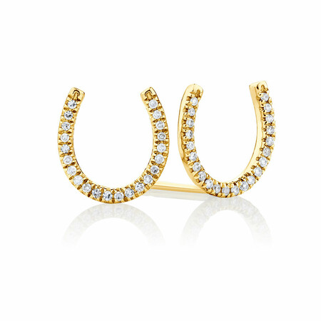 Horseshoe Stud Earrings With Diamonds In 10kt Yellow Gold