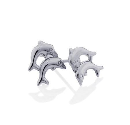 Dolphin Stud Earrings in 10kt White Gold