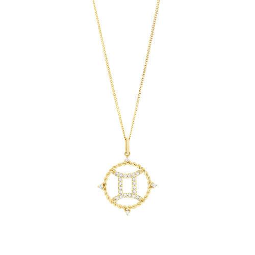 Gemini Zodiac Pendant with 0.20 Carat TW of Diamonds in 10kt Yellow Gold