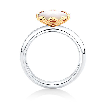 Mother of Pearl, Sterling Silver & 10kt Yellow Gold Stacker Ring