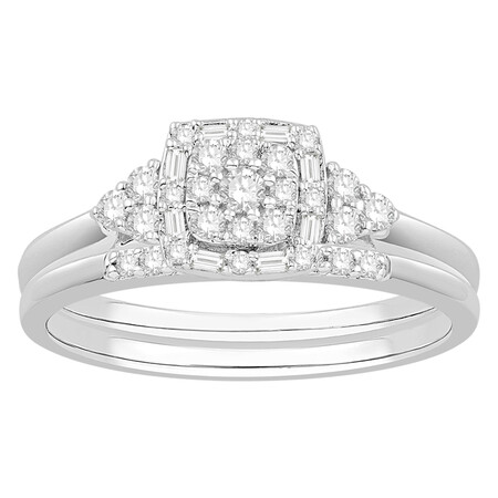 Bridal Set with 0.34 Carat TW of Diamonds in 10kt White Gold