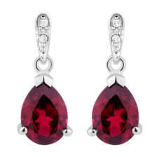 Online Exclusive - Drop Earrings with Created Ruby & Diamonds in 10kt White Gold