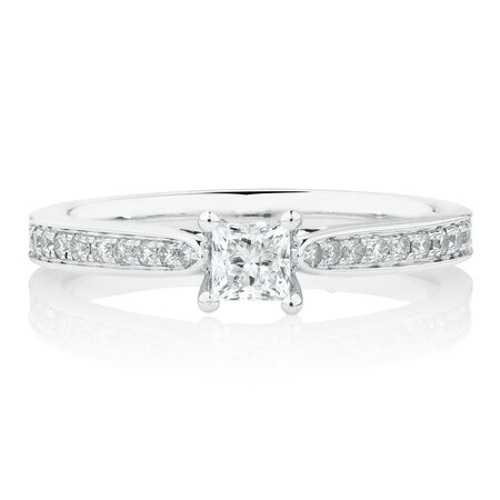 Solitaire Engagement Ring With 1/2 Carat TW of Diamonds In 14kt White Gold