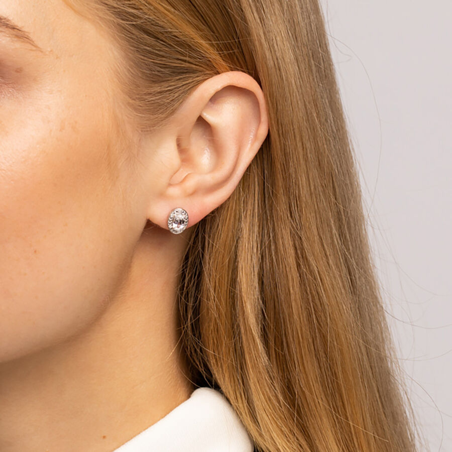 Halo Earrings with Created White Sapphire and 0.04 Carat TW of Diamonds in Sterling Silver