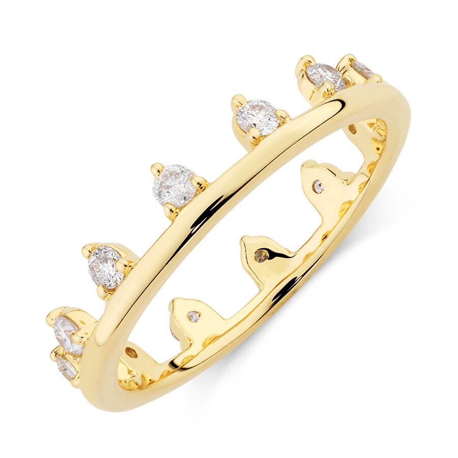 Zipper Ring with 0.41 Carat TW of Diamonds in 10kt Yellow Gold