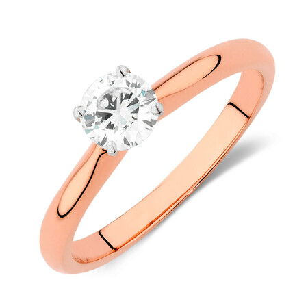 Certified Solitaire Engagement Ring with a 0.50 Carat TW Diamond in 14kt Rose and White Gold