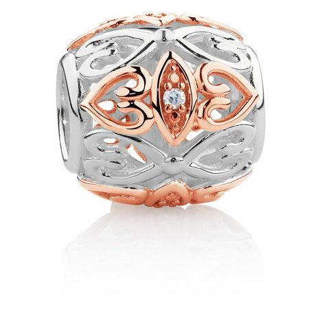 Diamond Set Barrel Charm in Sterling Silver & 10kt Rose Gold
