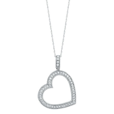 Heart Pendant with 0.35 Carat TW of Diamonds in 10kt White Gold