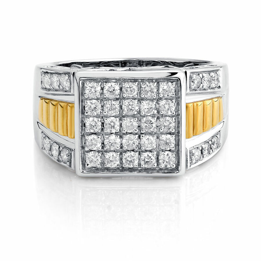 Men's Ring with 1 Carat TW of Diamonds in 10kt Yellow & White Gold