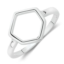 Hexagon Ring in Sterling Silver
