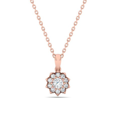 Cluster Pendant with 0.38 Carat TW of Diamonds in 10kt Rose Gold
