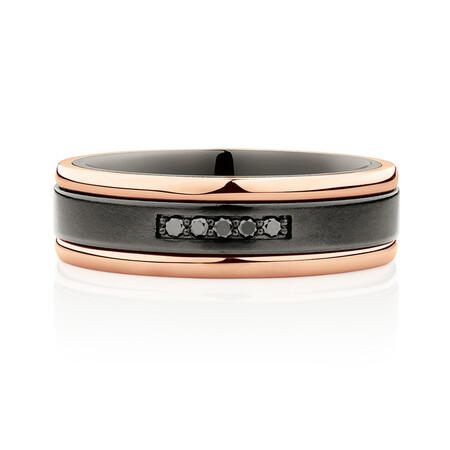 7mm Ring with Black Diamonds in Black Titanium & 10kt Rose Gold