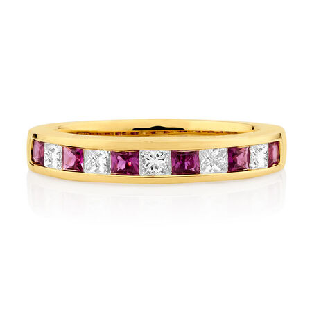 Ring with Ruby & 0.375 Carat TW of Diamonds in 10kt Yellow Gold