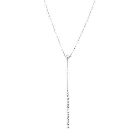 Adjustable Bar Necklace in 10kt White Gold