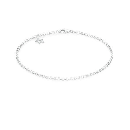 "26cm (10.5"") Star Anklet with Cubic Zirconia in Sterling Silver"