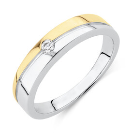 Ring with Diamond in 10kt White & Yellow Gold