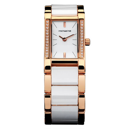 Ladies Watch in White Ceramic & Rose Tone Stainless Steel
