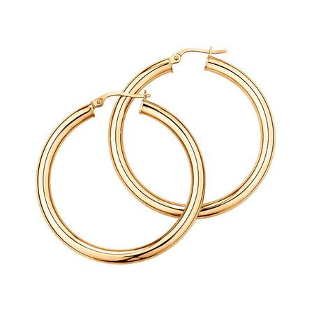 29mm Round Hoop Earrings in 10kt Yellow Gold