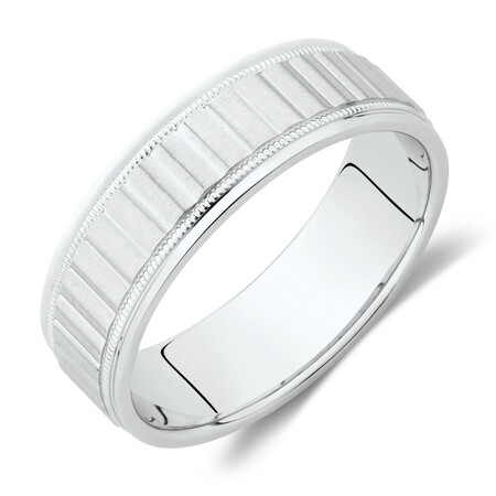 Patterned Wedding Band in 10kt White Gold