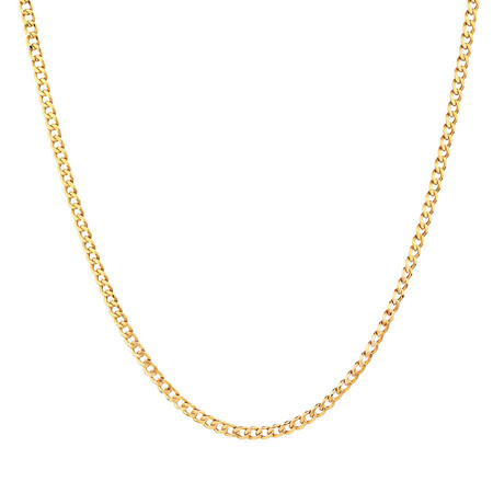 """55cm (22"""") Hollow Curb Chain in 10kt Yellow Gold"""