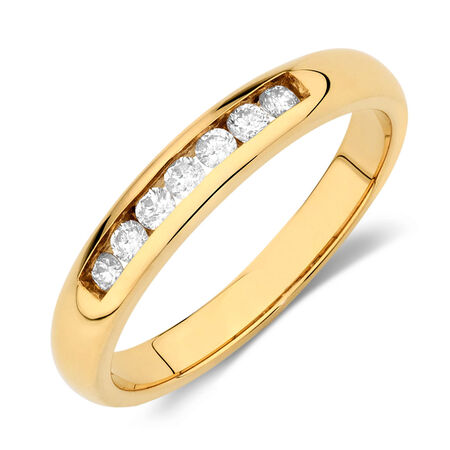 Wedding Band with 0.17 Carat TW of Diamonds in 18kt Yellow Gold