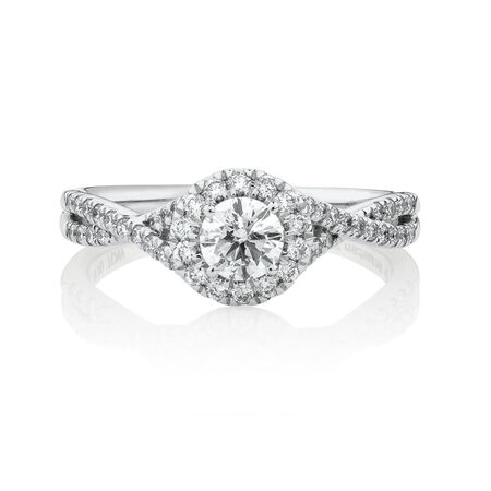 Engagement Ring with 0.70 Carat TW of Diamonds in 14kt White Gold