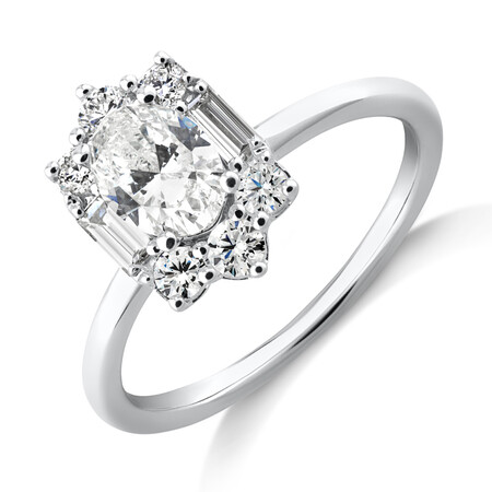Sir Michael Hill Designer Oval Engagement Ring with 0.96 Carat TW Diamonds in 18kt White Gold