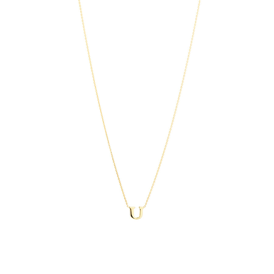 """""""U"""" Initial Necklace in 10kt Yellow Gold"""