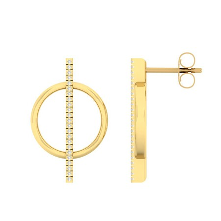 Circle Bar Stud Earrings with Diamonds in 10kt Yellow Gold