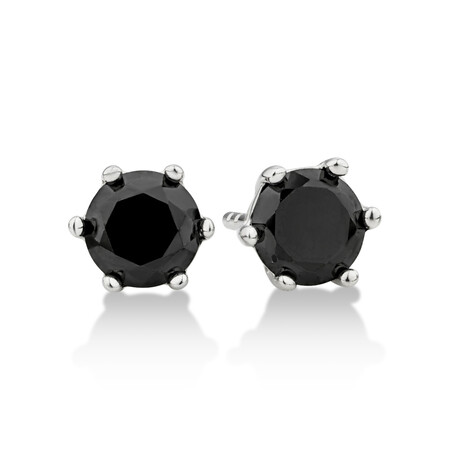 Stud Earrings with Black Cubic Zirconia in Sterling Silver