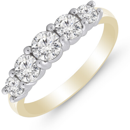 Five Stone Ring with 1.00 Carat TW of Diamonds in 14kt Yellow & White Gold