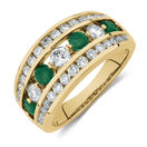 Ring with Natural Emerald & 1 Carat TW of Diamonds in 14kt Yellow Gold