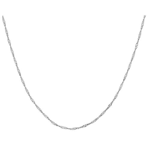 """60cm (24"""") Hollow Singapore Chain in 10kt White Gold"""