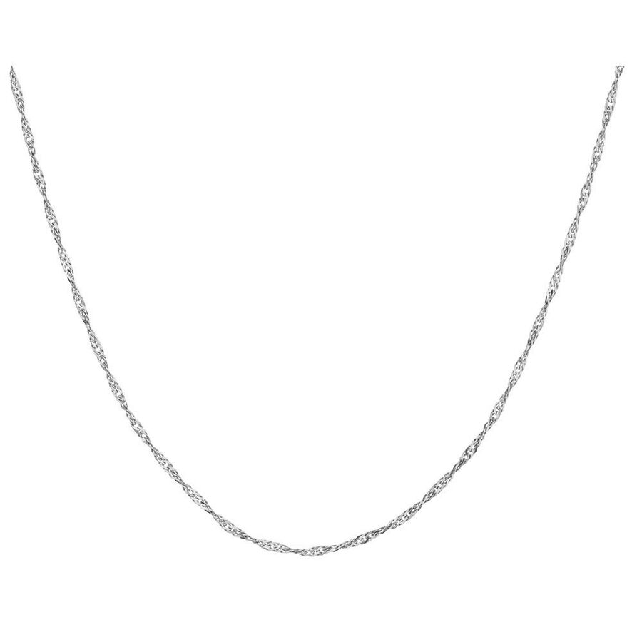 "60cm (24"") Hollow Singapore Chain in 10kt White Gold"