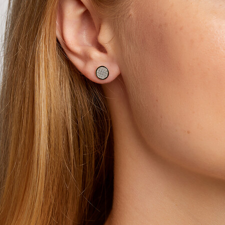 Small Circle Glitter Stud Earrings in 10kt Yellow Gold