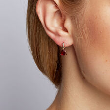 Drop Earrings with Created Ruby & Diamonds in 10kt Yellow & White Gold