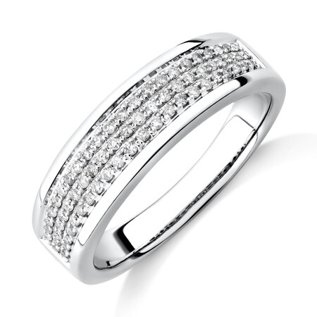 Men's Pave Ring with 0.33 Carat TW of Diamonds in 10kt White Gold