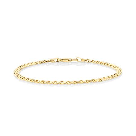 """18cm (7.1"""") Fancy Double Link Bracelet in 14kt Yellow Gold"""