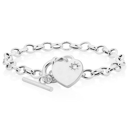 """19cm (7.5"""") Rolo Bracelet with Cubic Zirconia in Sterling Silver"""