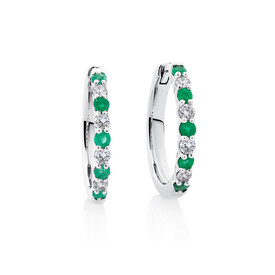 Huggie Earrings with Natural Emeralds & 0.20 Carat TW of Diamonds in 10kt White Gold