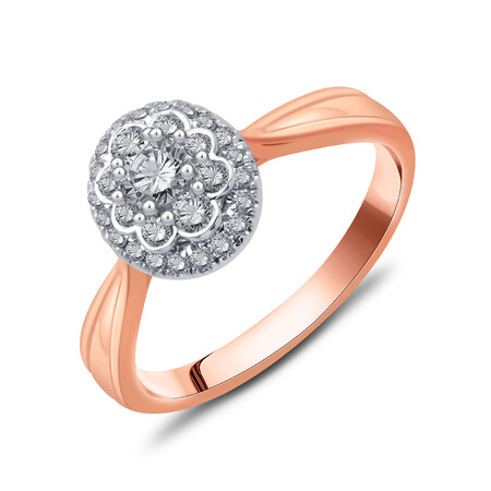 Cluster Ring with 0.48 Carat TW of Diamonds in 10kt Rose & White Gold