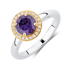 Purple & White Cubic Zirconia, Sterling Silver & 10ct Yellow Gold Stacker Ring